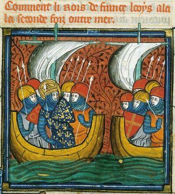 Roi de France Louis IX en mer vers Tunis.  Wikimedia.