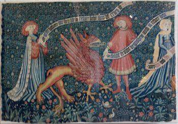 Griffin on a Medieval Tapestry in Basel c. 1450. Wikimedia.