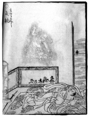Toriyama Sekien.  Makuragaeshi, who moves your pillow from your head to your feet while you're sleeping. Wikimedia.