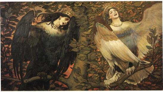 Viktor Vasnetsov.  Sirin and Alkonost - Birds of Joy and Sorrow, 1896. WikiArt.