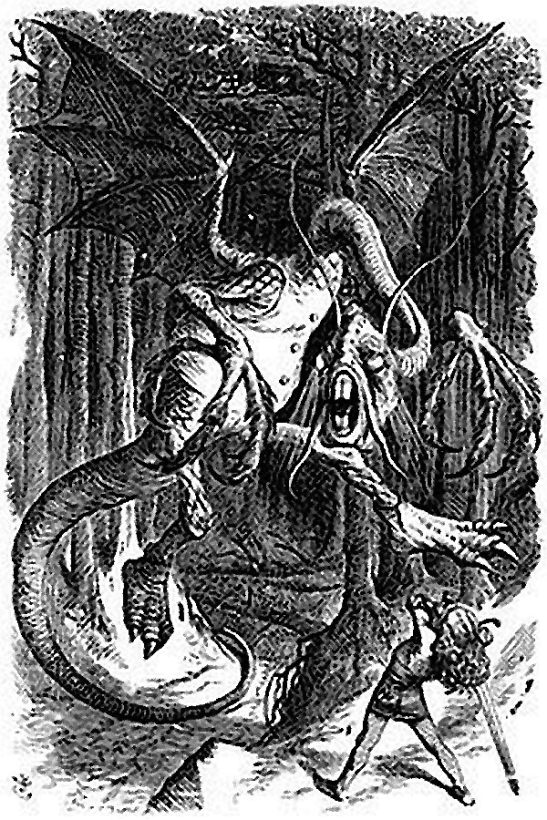 The Jabberwock, as illustrated by John Tenniel for Lewis Carroll's Through the Looking Glass