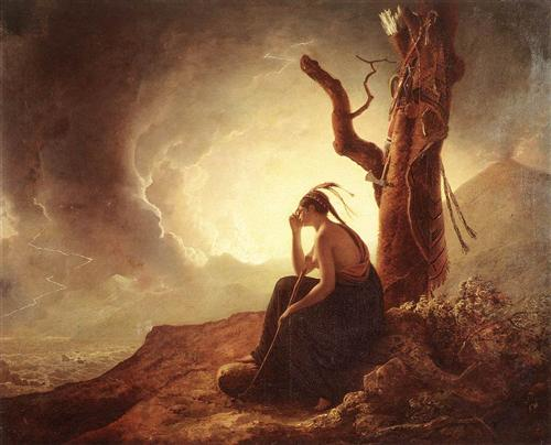 Joseph Wright. Widow of an Indian Chief, 1785. WikiArt.
