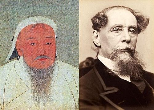 Taizu - aka Genghis Khan - and Charles Dickens. Wikimedia.