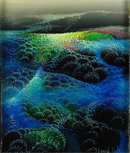Eyvind Earle.   Fields of Fog. WikiArt.