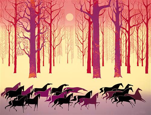 Eyvind Earle.  Land of the Midnight Sun. WikiArt.
