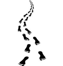 approaching footsteps - clip art illustration