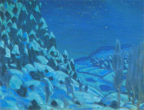 Nicholas Roerich.  Prologue. Forest.  1908.  WikiArt.