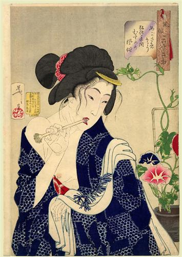 Tsukioka Yoshitoshi. Looking As If She Is Waking Up, 1888. WikiArt.