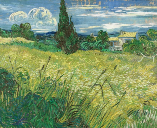 Green Wheat Field with Cypress, Vincent van Gogh1889, Narodni Gallery, Prague