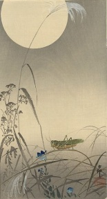 Grasshopper and Moon.  Ohara Koson