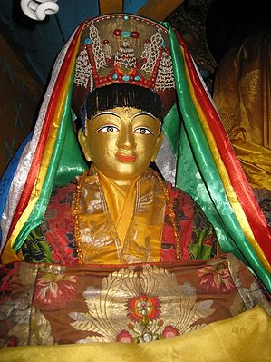 Milarepa-statue-made-by-root-student-rechungpa