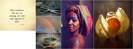 The images (I am struggling with eye fatigue so I can only hope I am describing these images reasonably!) A metal bowl with water being poured into it in a delicate waterfall like stream A pair of scissors A double rainbow on an overcast day A physalis A woman with a scarf wrapped around her head, brows decorated with white dots, large earrings, and a flower tattoo on her shoulder. The woman has dark, warm, and radiant skin, dark eyes and hair and appears in her 40s.